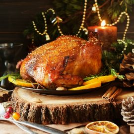Truffle-Scented Roasted Turkey With Shallots & Chestnuts