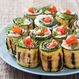 Zucchini Rolls with Cream Cheese Canapé