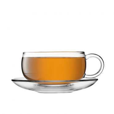 JING Glass Round Cup & Saucer 300ml