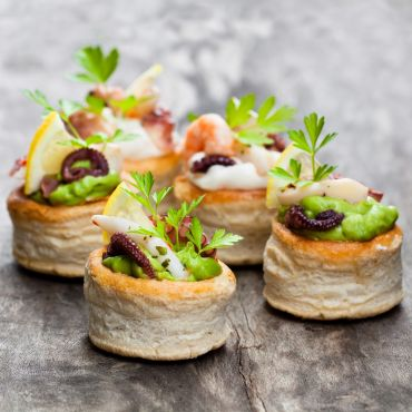 Grilled Octopus Canapé with Green Pea Cream