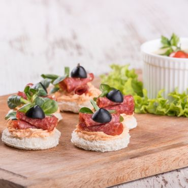 Beef Salami Canapés with Olives